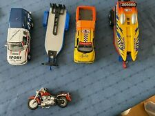 Lot of 5 Die Cast Replica Cars, Boat with Trailers, Motorcycle