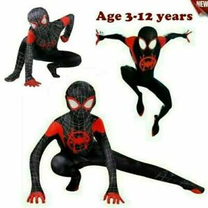 Kids Boys Spider Man Into the SuperHero Miles Morales Cosplay Costume Suit UK