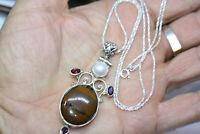 "Vintage Sterling Silver 18 ct Jasper Garnet Pendant Women's Necklace 24"" Chain"