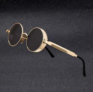 Vintage Polarized Steampunk Sunglasses Mens Brand Design Round UV400 Sun glasses