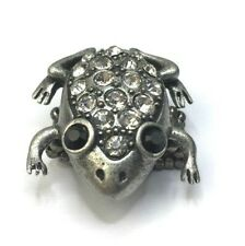 Frog Ring Stretch Band Rhinestones Chunky Bling Statement Silver Tone