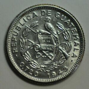 mw16737 Guatemala; Silver 5 Centavos 1943 Philadelphia Mint  KM#238.2  UNC