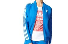 NEW Adidas Originals Track Top Jacket Blue Zip Womens Girls Ladies Size 12