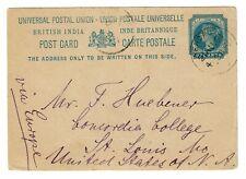 India 1901 1 Anna Postcard to Missouri  - Z19436