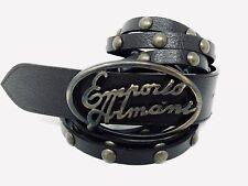Emporio Armani Buckle w/Armani Dark Brown Studded Leather Belt Mens Sz 34