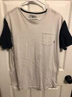 Billabong Pocket Tee Two Tone White T-Shirt Skateboarding Streetwear Mens L