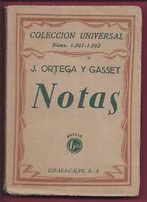 Libro José Ortega y Gasset. Notas. 1928 Book José Ortega y Gasset. Notes