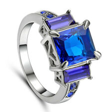 Size 8 Fashion Blue Sapphire Wedding Ring 10Kt white Gold Filled Engagement