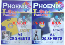 IRON ON T Shirt LIGHT 20 sheets & DARK  20 sheets Transfer Paper A4 size