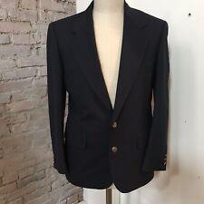 Hardy Amies Men's Navy Solid Wool Blazer 2bttn Brass Jacket Vent 40S