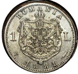 1881 Leu Silver Romania.  High grade