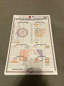 Washington Nationals Baltimore Orioles 5/30/18 Lineup Card