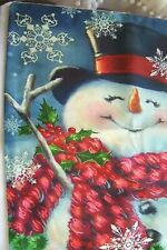 "NEW! Christmas,Winter,Snowman,Snowflakes,Pillow Cover.17"" square.w.Zipper.Linen"
