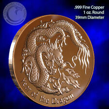"""""""Year of the Dragon"""" 1 oz .999 Copper Round Limited and Rare"""