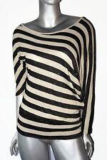 Cache Asymmetrical Off Shoulder Black/Cream Striped Metallic Top Womens Sz 8