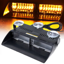 Amber 16 LED High Intensity Bright Dash Windshield Flash Strobe Light Car Truck