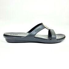 Crocs Womens 8 or 9 Sanrah Hammered Metal Sandal Slide Black 205137 $79.95