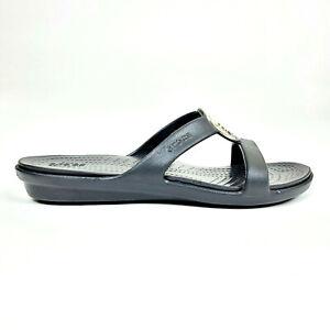 Crocs Womens 8 Sanrah Hammered Metal Sandal Slide Black 205137 $79.95