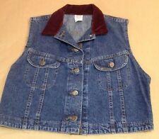 LEE womens denim vest, size L, metal button, maroon crushed velvet collar