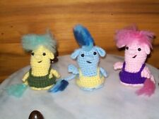 Adorable 4in crochet Baby Trolls set of 3 doll toy animal handmade #6