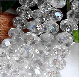 4X6mm glittering white crystal beads 95pcs/A6