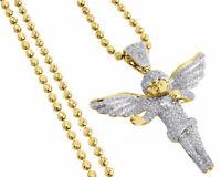 Diamond Angel Pendant 10K Yellow Gold Pave Mini Charm Round Solitaire 2.45 Ct.
