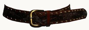 Vintage Brown & Gold Genuine Leather Floral Stamped Women's Waist Belt 83cm-93cm