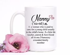 Nanny Dictionary Definition Coffee Mug Gift 15 oz Coffee Cup Governess Au Pair