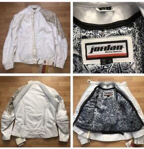 Michael Jordan Motorcycle White leather Biker jacket laser jo rocket women Large