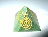 Jet Green Aventurine Usui Engraved Pyramid Stone India Handcrafted 1 inch