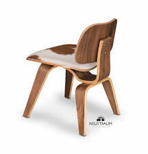 Ergonomic valnut dining chair covered with real cow skin and real valnut veneer