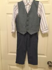 Boys Size 4  Multi Label Three Piece Pants Vest And Dress Shirt