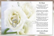 A4 CREAM  PERSONALISED POEM TO MY MUM  ON DAUGHTERS WEDDING DAY IDEAL TO FRAME