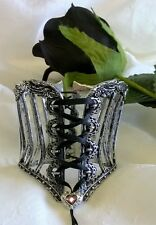 ALCHEMY PEWTER VICTORIAN STYLE TIGHTLACE CORSET DESIGN WRIST BRACELET OR BANGLE