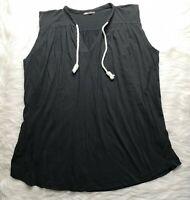 ZARA WOMEN'S BLACK DRAWSTRING NECKLINE SLEEVELESS COTTON MINI TUNIC DRESS SIZE M