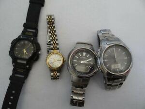 Lot Of 4 Quartz  Watches Casio Citizen Great Project!!!!