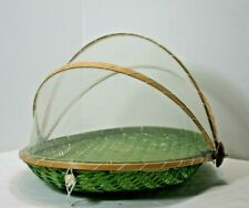 Roll-Top Covered Wicker Picnic Table Server Basket ~ Best Ever! Most Adorable!