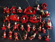34 Teile Konvolut in rot Weihnachtsschmuck Anhänger Holz handbemalt