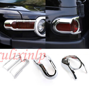 For 2007-2020 Toyota FJ Cruiser ABS Chrome Front Turn+Rear Tail Light Cover Trim