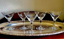 Vintage Mid Century Martini Glasses Etched Wheat Fine Glass Cocktail Barware 5