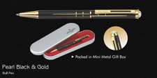 Pierre Cardin Pearl Black & Gold Ball Pen Stainless Steel Gold Trim GT Blue Ink