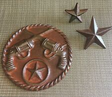 Rusty GLOSSED cast iron WESTERN STARS, GUNS PLAQUE wall decor