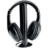 5 IN 1 WIRELESS CORDLESS RF HEADPHONES HEADSET WITH MIC FOR PC TV RADIO SKYPE