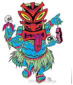 Tripping Tiki STICKER Decal Poster Art Alan Forbes AF17