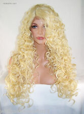Blonde 613 Long Curly Layers Lace Front Wig Heat Ok Iron Safe Resistant part Spr
