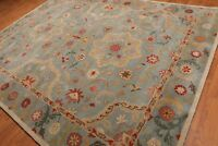 Old Hand Made Blue Floral Style Traditional Parsian Oriental Wool Area Rug