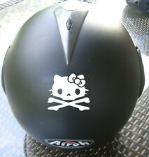 Adhesivo Pegatina Hello Kitty Calavera Casco Skull Motero Casco Scooter