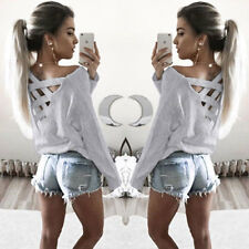 L Women Girl Summer Long Sleeve Shirt Casual Blouse Loose Cotton Tops T Shirt