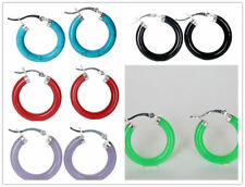Multicolor Turquoise & Agate & Jade & Lacquer Silver Snap Closure Hoop Earrings