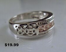 Men's Sterling Silver Pink Sapphire Simulant Celtic Band Ring Size 9